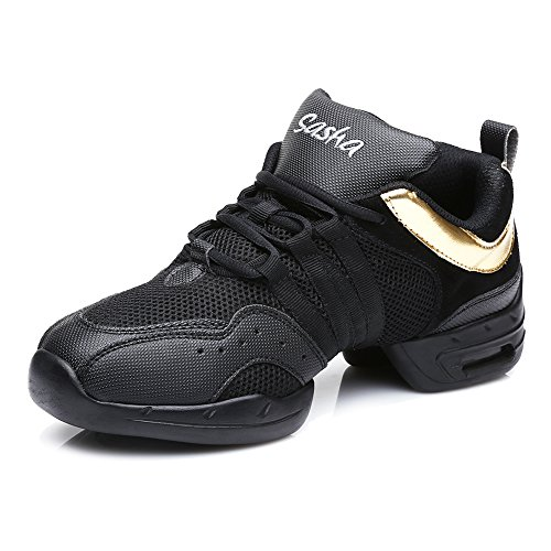 Sneaker Donna/Donne Pelle/Maglie Jazz/Modern Ballo Danza Hip Hop Sport Scarpe da Tennis,Modello-ITB56E,Nero+Oro,EU 37