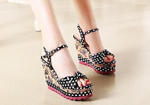 BaiLing Damen Sommer Sandalen / Wedge Heel wasserdicht / dicken Boden / Wave Punkt Bowknot kleine Größe Schuhe Black