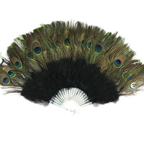 Kostüm Burlesque Dance Style - Andouy Retro Faltfächer/Handfächer/Papierfächer/Federfächer/Sandelholz Fan/Bambusfächer für Hochzeit, Party, Tanzen(37cm.Schwarz)