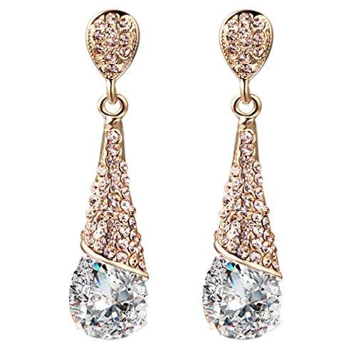 YAZILIND Gold 18K überzogen Frauen-Mode-Riss-Tropfen Weiß Zirkonia Strass Dangel Ohrring-Geschenk