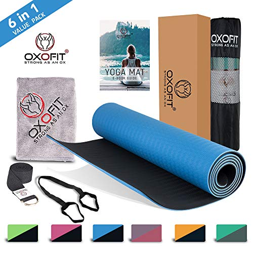 OxOFit All Purpose Yoga Mat for Men & Women Anti-Tear Sustainable TPE Material | for Yoga, Meditation, Pilates & Floor Exercises | 6ft x 2ft x 6mm Thick Mat