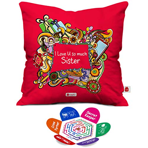 Indigifts Raksha Bandhan Gifts For Sister Love You Sis Quote Pink Cushion Cover 12x12 Inches With