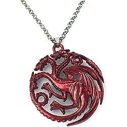 Game of Thrones. Rojo Dragón de tres cabezas colgante collar