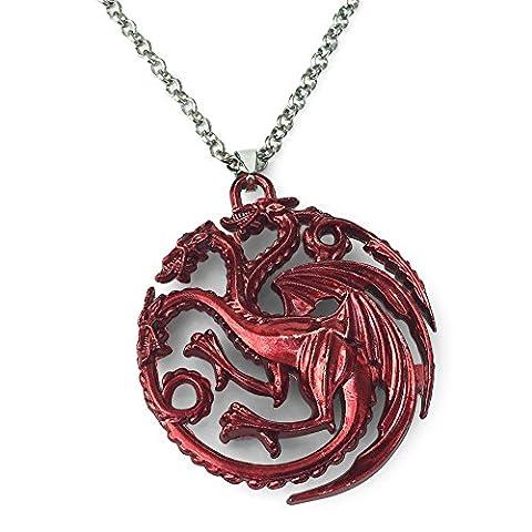 Game Of Thrones. Trois rouges tête collier pendentif