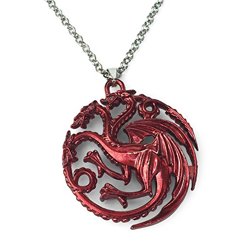 Trono di spade, collana con ciondolo con drago rosso a tre teste