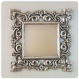 Rococo Espejo Decorativo de Madera Gada Warta de 60x60cm en Plata (Envejecida)