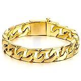 Herren Große Schwere Goldene Panzerkette Armband Edelstahl, 22CM Hochglanz Poliert