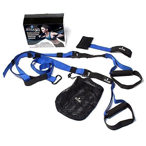 Système de suspension BLEU, Sangles de Musculation des kits à Domicile Piscine Gym, avec ancre de porte, sangles, boucles en métal - Suspension Straps Home GYM - BLUE | Schukaps Fitness |