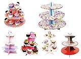 takestop® ALZATA STAND 3 LIVELLI 16x22.5x30 CM IN CARTONE CARTA ALBERO SUPPORTO PER CUP CAKE CUPCAKE MUFFIN DOLCE fantasia casuale
