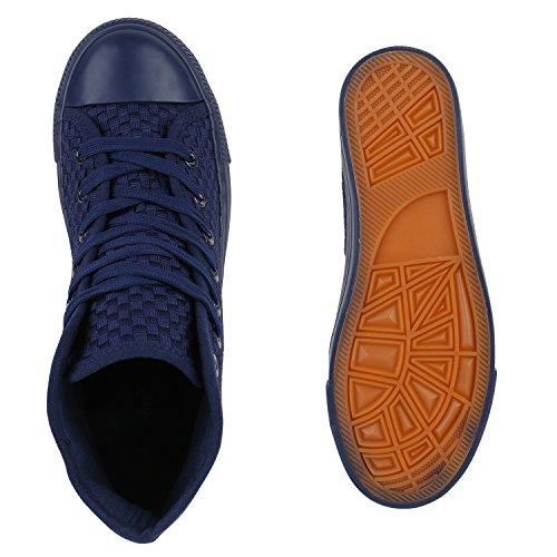 Damen High Top Sneakers Stoffschuhe Sportschuhe Casual Style Dunkelblau