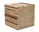 Brillibrum Design Echtholz AST Hocker aus Teakholz Rundhölzer Massiv Holzklotz Natur Treibholz Robust Beistelltisch Blumenhocker Baumstamm (45 x 45 x 45 cm)