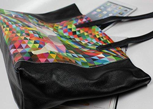 DJB/Geometrische Print Leder Schulter Tasche Leder Handtasche black large