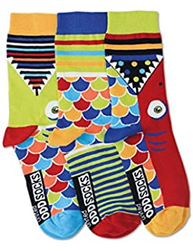 United Oddsocks - Fishy - Jungs - Gr. 30 - 38 - 3 Socken = 3 Kombis