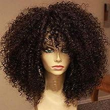 LINAN Pelucas rizadas sintéticas de Tejido rápido para Mujeres con Flequillo Pelucas sintéticas Negro y marrón