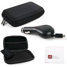 DURAGADGET SET Estuche / Funda Rígida Para Navegador GPS + Cargador Coche Retráctil MicroUSB + Paño Limpiador - Alta Calidad