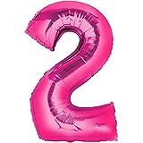 Folienballon - Zahl 2 PINK - XXL 86cm, Zahlen Luftballon + PORTOFREI mgl + Geschenkkarten Set + Helium & Ballongas geeignet. High Quality Premium Ballons vom Luftballonprofi & deutschen Heliumballon Experten. Luftballondeko zum Geburtstag oder Jubiläum. Lustiger Geburtstagsgeschenk Ballon