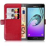 Samsung Galaxy A3 (6) 2016, JAMMYLIZARD Luxuriöse Ledertasche Flip Cover, ROT