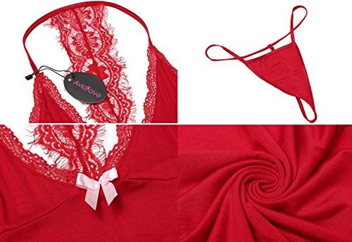 Avidlove Damen Sexy Nachthemd Kurz Negligee Nachtwäsche Sleepwear Unterkleid Lingerie Unterröcke Kleider Babydoll mit String & Spitze Dekor A-Rot