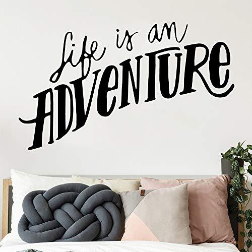 Das Leben ist ein Abenteuer Wandaufkleber Abnehmbare Selbstklebende Aquarell Entfernbare Wandaufkleber Kunst Dekoration Diy Wohnkultur Rot XL 43 cm X 72 cm -