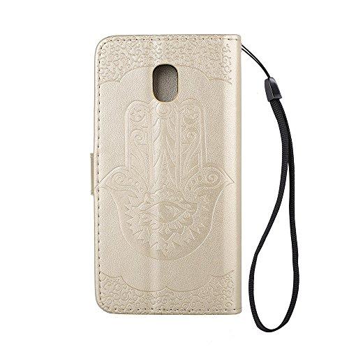 EKINHUI Case Cover Geprägte Palme Blumenmuster Retro PU Leder Geldbörse Tasche Tasche mit Card Slots und Lanyard für Samsung Galaxy J3 (2017) Europäische Edition ( Color : Gray ) Gold