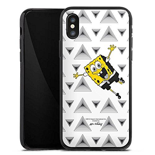 Apple iPhone X Silikon Hülle Case Schutzhülle Spongebob Fanartikel Merchandise Triangle Mono Silikon Case schwarz