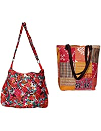 Indiweaves Combo Pack Of 1 Cotton Kantha Tote Bag And 1 Cotton Shopper Bag (Pack Of 2) 82100-131169-IW-P2
