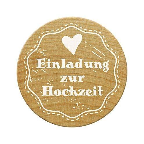 Woodies Stempel Einladung zur Hochzeit, Holz, 3,4x 3,4x 3,5cm