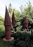 Metallmichl Edelrost Vogelhaus rund, Höhe 68 cm, Platte 20 cm, 2tlg, mit Stab 150 cm