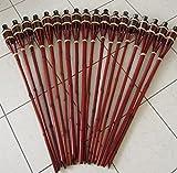 Hillfield® 18 x Gartenfackel Mahagoni Bambus Bambusfackel Garten Fackel mit Sturmverschluss Dochtschutz Gartenfackeln 90cm (18 Stück, Mahagoni)
