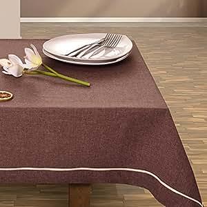 140x200 cm braun schoko Tischdecke Tischtuch elegant praktisch pflegeleicht Leinoptik Lein Optik mit Borte Modern Lein