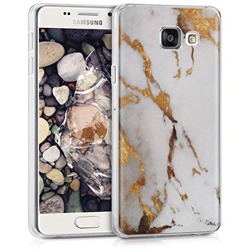 kwmobile Samsung Galaxy A3 (2016) Hülle - Handyhülle für Samsung Galaxy A3 (2016) - Handy Case in Weiß Gold