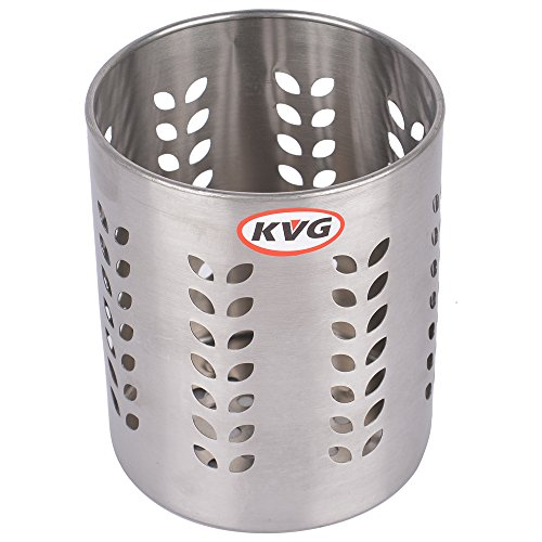 KVG Stainless Steel Spoon Stand/Cutlery Stand, 9.7 cms, Cylindrical, Silver  available at amazon for Rs.199