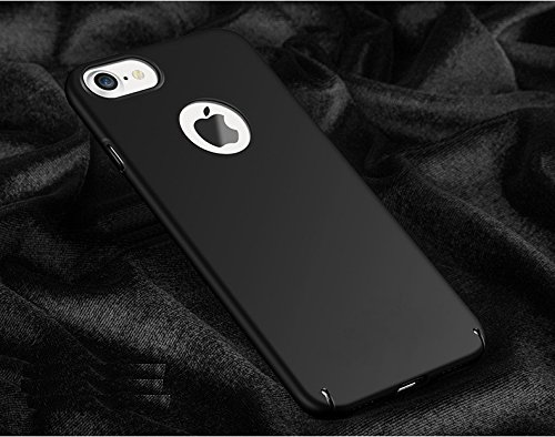 "WOW Imagine(TM) All Sides Protection ""360 Degree"" Sleek Rubberised Matte Hard Case Back Cover For Apple iPhone 7 – Pitch Black"