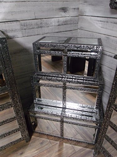 set-3-x-silver-embossed-wooden-storage-trunks-chests-vintage-style
