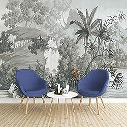 XZCWWH Papier Peint Personnalisé De Mur De Papier Peint De Forêt Tropicale Dessiné À La Main De Cru Pour Des Murs 3D Salon Papier Peint De Mur De Décoration De Maison,90cm(W)×50cm(H)
