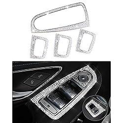 Mercedes-Zubehör Benz Parts Verkleidungsfenster Steuerschalter Button Regulator Covers Decals Aufkleber Interieur Visiere Dekorationen W205 X253 C-Klasse GLC AMG Damen Herren Bling Kristall (Silber)