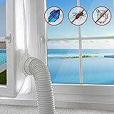 TRECI 400CM Guarnizione Universale per Finestre Condizionatore Mobile Climatizatore Mobile Facile da Montare Chiusura a Strappo Con Zip,Impermeabile,Bianco
