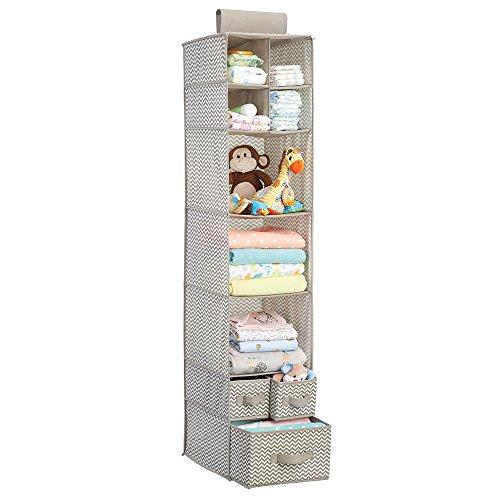 mDesign étagère de rangement en tissu à suspendre – organiseur d'armoire de bébé pratique – avec 7 étages et 3 tiroirs pour vêtements, jouets et couvertures – pour la chambre d'enfant – taupe/nature