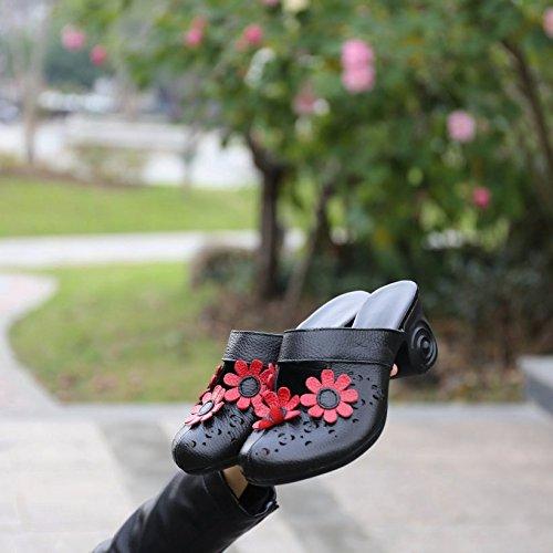 SCLOTHS Tongs Femme L'été Baotou élégant faites glisser le mot Rough avec à talons hauts en cuir artificiel Rough avec Black