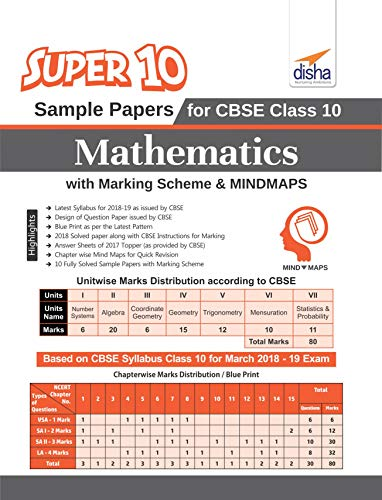 Super 10 Sample Papers for CBSE Class 10 Mathematics with Marking Scheme & Mindmaps