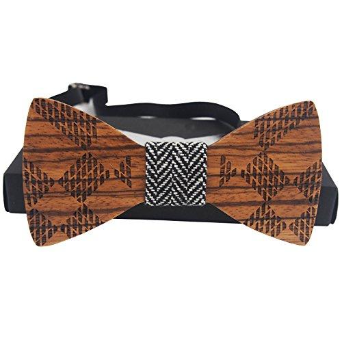 BestM Herren-Krawatte Hochzeit Schlank Holz Fliege Krawatte 4.7 * 2.1 * 0.2 Inches Plaid-Brown - Brown Plaid Bow