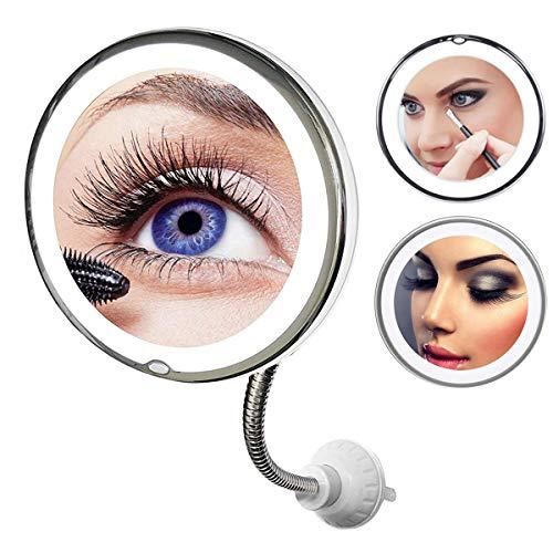 Z@SS Espejo de Maquillaje Aumento 10x, Espejo Flexible Giratorio de 360 Grados Espejo de Maquillaje...
