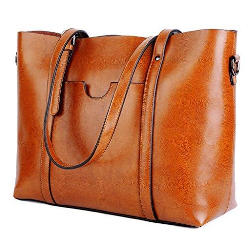 Ausverkauf-Yaluxe Damen Vintage Stil weich Leder Arbeit Shopper Gross Schultertasche braun