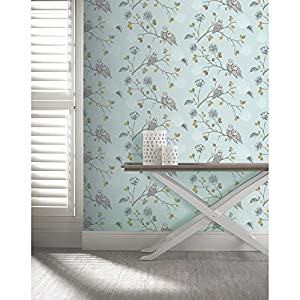 Arthouse Enchantment Wallpaper Night Owl Duck Egg 665001 Sample from Arthouse