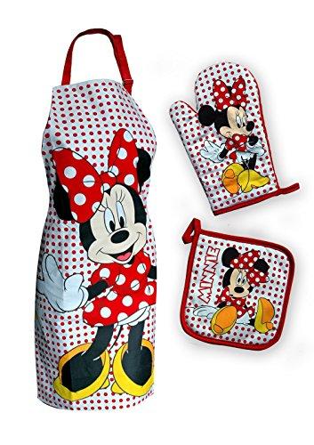 Disney maxi & mini–set di cucina grembiule + presina + guanto da cucina, motivo minnie