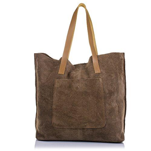 Firenze Artegiani Bolso Shopping Bag de Mujer en Piel auténtica, Acabado Gamuza, Asas en Piel...