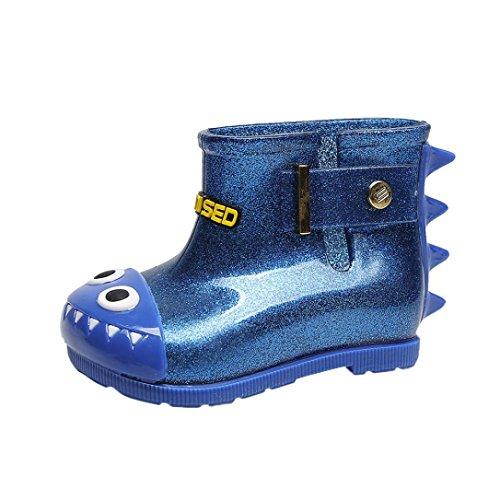 FNKDOR Kinder Jungen Mädchen Gummistiefel Hai Regenstiefel Kurzschaft Unisex Schuhe (21/22, Blau)