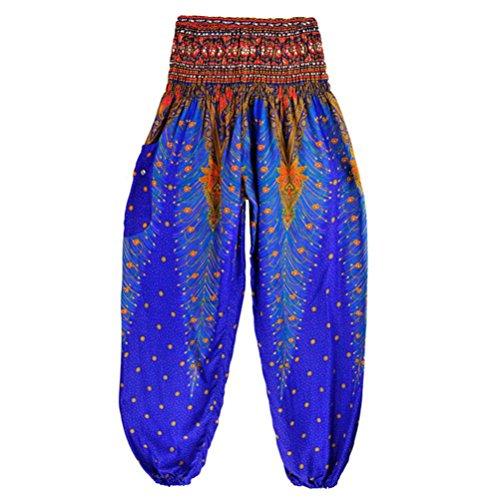 TUDUZ Thai Hippie Hose Hosenrock Haremshose Pumphose für Damen & Herren (Dunkelblau, S-L)