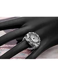 skyllc® Anillo Reloj Tibet Plata Forma Flor Elástico Nuevo 22mm