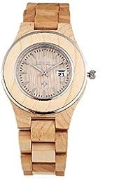 Leopard Shop Bewell ZS–w100al Mujeres Reloj De Cuarzo luminoso puntero Calendario Madera uñas escala reloj de pulsera madera de arce